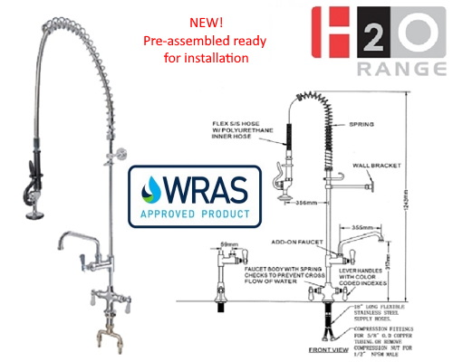 H2O Wall mounted Mini Pre rinse 6 inch