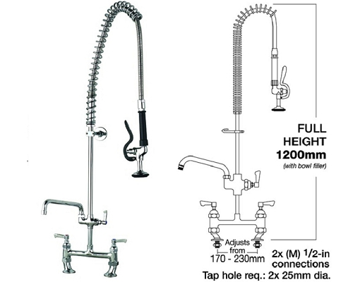 MECHLINE AquaJet 30 Deck mounted Pre-Rinse Sprays + Faucet 12""