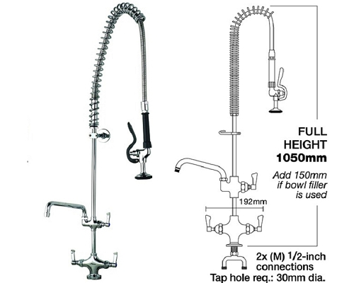 "MECHLINE AquaJet 20 Deck Mount Pre-Rinse Sprays + 6"" Faucet"