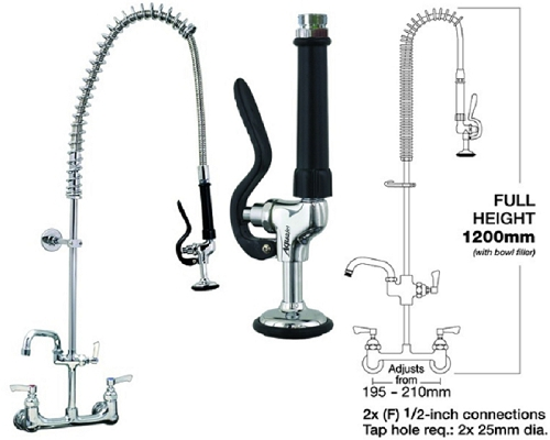 "MECHLINE AquaJet 40 Rear mount Pre-Rinse Spray 2 Feed 12"" Faucet"