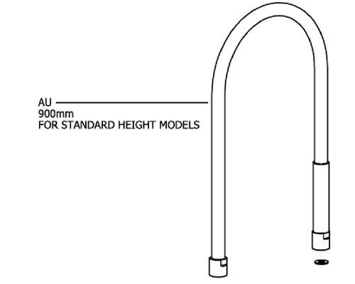 AQUATECHNIX Standard 900mm Hose (Single With 2 Washers)