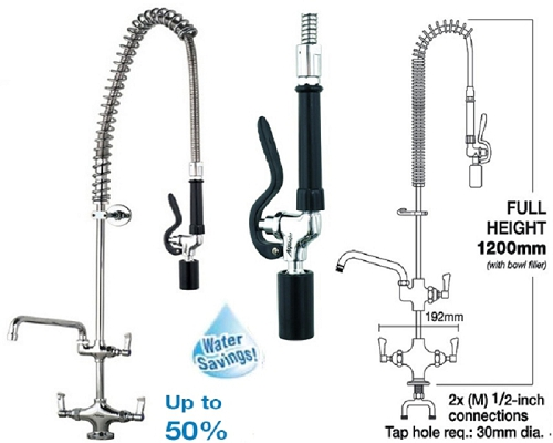 "MECHLINE AquaJet 20 Pre-Rinse Spray 12"" Faucet and Fan Blade Gun"