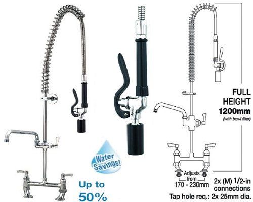 "MECHLINE AquaJet 30 Pre-Rinse Spray Faucet 12"" and Fan Blade Gun"