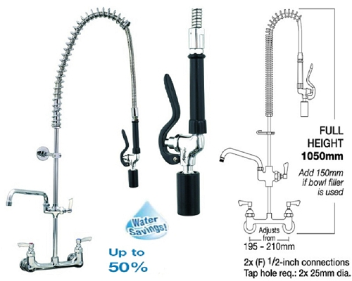 "MECHLINE AquaJet 40 Pre-Rinse Spray 12"" Faucet and Fan Blade Gun"