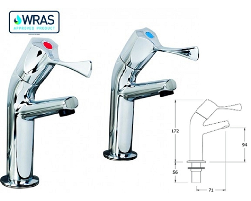 "AquaTechnix 1/2"" Basin taps with 3-inch Lever (pair)TX-500SL"