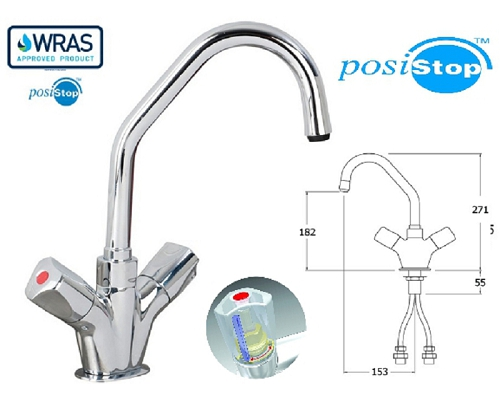"AquaTechnix 1/2"" Faucet 150mm Swivel Spout TX-B-206D"