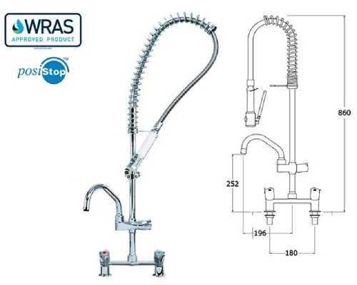 MECHLINE AquaTechnix 30 Pre-Rinse 2 Feed Short + 150mm Faucet