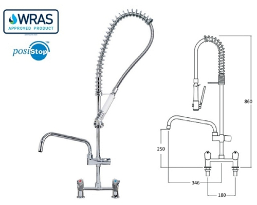 MECHLINE AquaTechnix 30 Pre-Rinse 2 Feed Short + 300mm Faucet