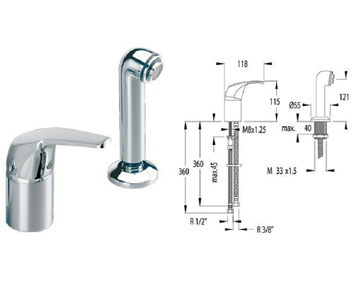 AQUANOVA mixer tap with pull out shower