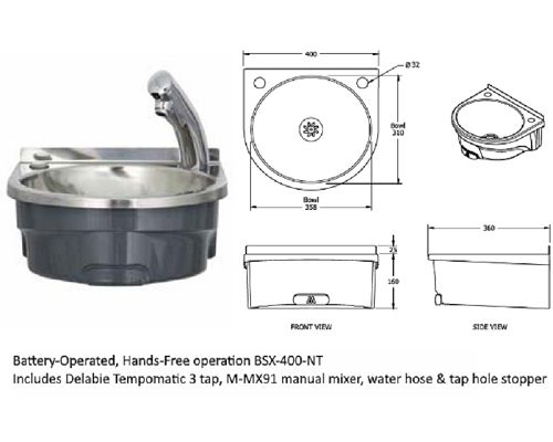 Basix Battery-Operated Hands-Free Basin BSX-400-NT