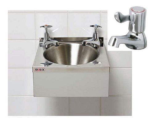 "Basix Stainless Steel Wash Hand Basin WS2 with 3"" lever Taps"