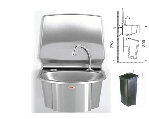 Basix Knee-Operated, Hands-Free,Basin WS6-KVS with Bin