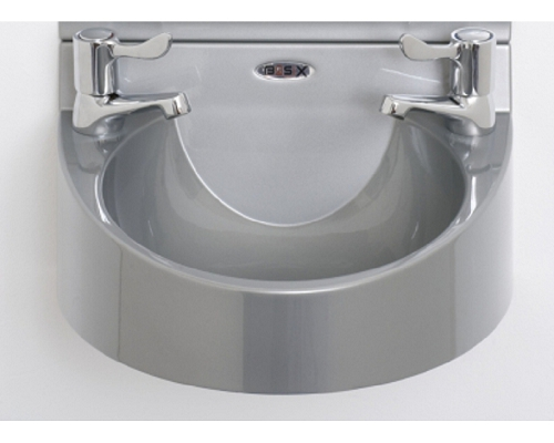 "Basix Wash Hand Basin WS1 ABS Gray with 3"" lever taps"