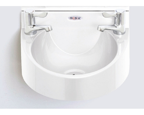 "Basix Wash Hand Basin WS1 ABS White with 3"" lever taps"