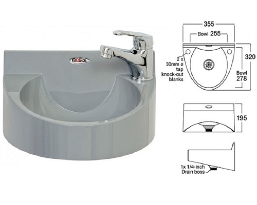 Basix Wash Hand Basin WS1-MM ABS Gray, with lever mixer tap