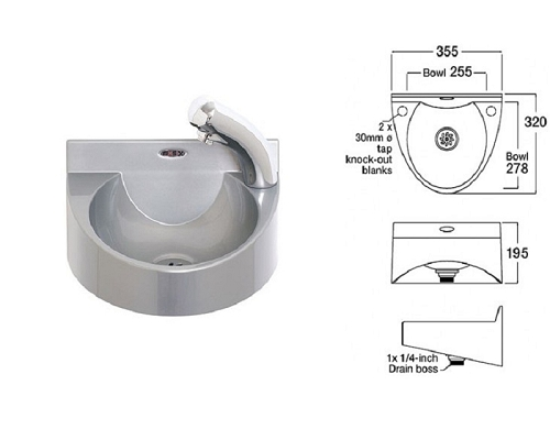 Basix Wash Hand Basin WS1-NT ABS Gray,with Hands-Free Tap