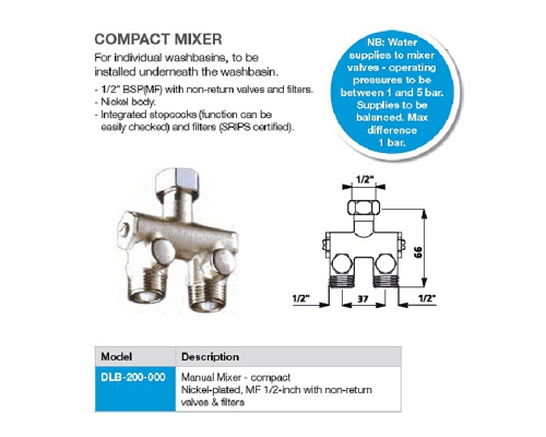 "Mechline Manual Mixer - compact, nickel-plated, MF ½"" non-return"
