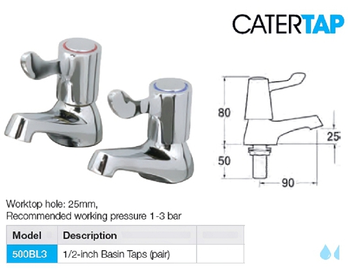 "CaterTap Light Duty 3-inch Lever ½ "" Basin taps (pair)"