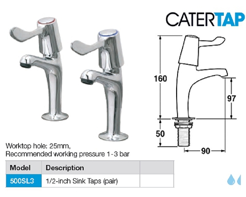 "CaterTap Light Duty 3-inch Lever ½ "" Sink taps (pair)"