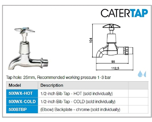 "CaterTap Light Duty Cross Head ½ "" Bib tap (Cold) with Backplate"