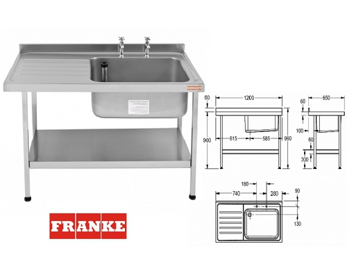 Franke Sissons Catering sink 1200x650 mm with left hand drainer