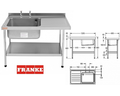 Franke Sissons Catering sink 1200x650 mm with right hand drainer