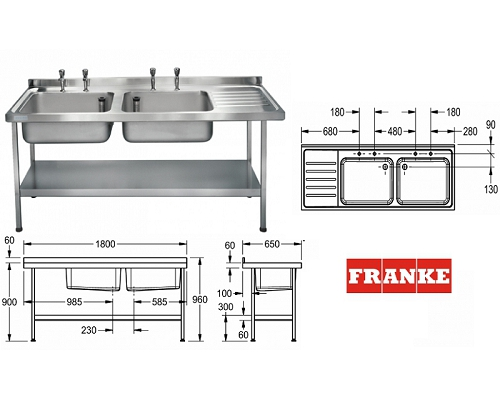 Franke Sissons Catering sink 1800x650 mm with left hand drainer