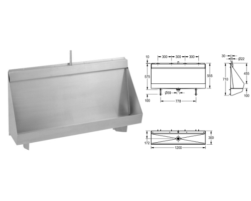 Franke Water Trough Urinal 1200mm Concealed Sparge pipes