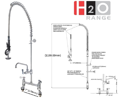 H2O Deck Mount Pre-rinse with 12 inch Faucet DP601BR+DP557012