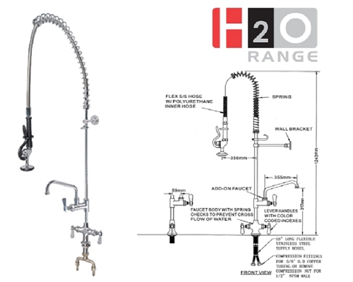 H2O Deck Mount Pre-rinse with 12 inch Faucet DP501BR+DP557012