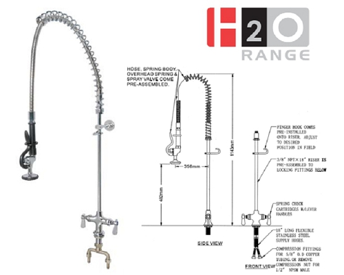 H2O Deck Mount Pre-rinse Unit Mono DP501BR