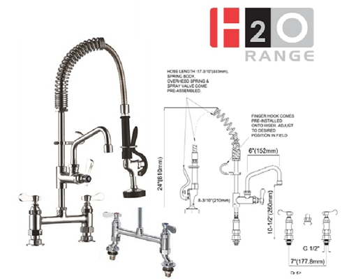 H2O Deck Mounted Mini Pre-rinse 6 inch Faucet DP60MN-2