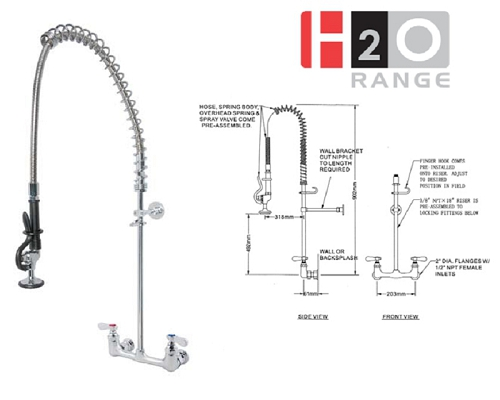 H2O Wall Mount Pre-rinse Unit DP531BR
