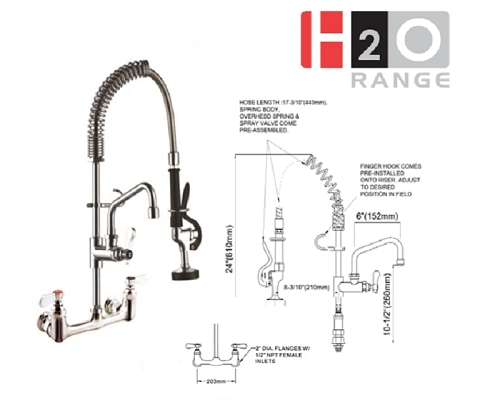 H2O Wall mounted Mini Pre-rinse 6 inch Faucet DP53MN-2