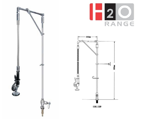 H2O Swivel arm Single feed Deck Mount Pre-rinse Unit DP635032–12