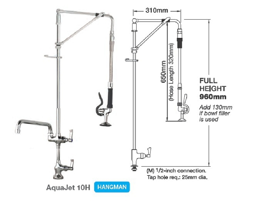 "MECHLINE AquaJet 10 Pre-Rinses Hangman Single Feed+ 12"" Faucet"