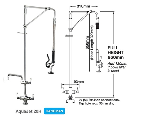"MECHLINE AquaJet 20 Pre-Rinses Hangman Unit 2 Feed+ 12"" Faucet"