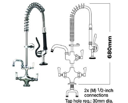 "MECHLINE AquaJet 20 Short Pre-Rinse Sprays 2 Feed + 12"" Faucet"