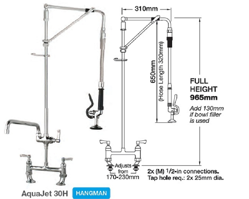 "MECHLINE AquaJet 30 Pre-Rinses Hangman Unit 2 Feed+ 12"" Faucet"
