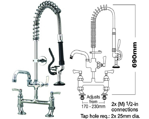 "MECHLINE AquaJet 30 Short Pre-Rinse Sprays 2 Feed + 6"" Faucet"