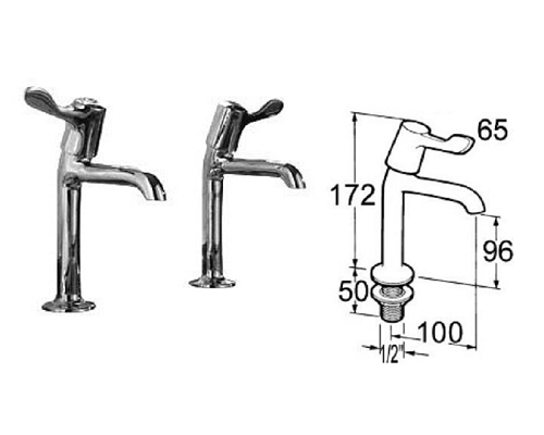 "Mechline Pegler 3-in lever Sink taps 1/2"" Pair"