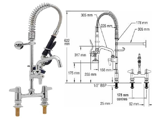 "T&S Brass Mini Twin Standard Spray head-6"" faucet EMPU-7DLN-06"