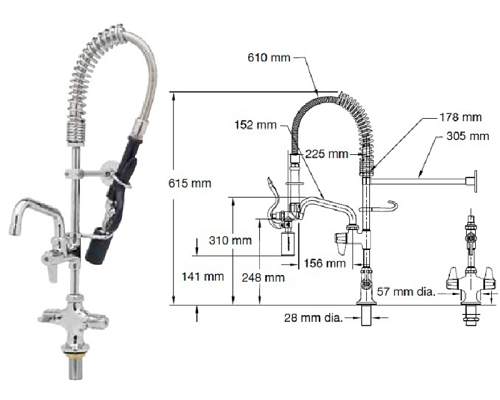 "T&S Brass Mini mono/low flow Spray head-6"" faucet EMPU-2DLN-06"