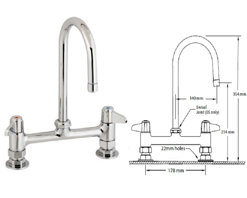 T&S Brass TWIN WITH 140MM SWIVEL GOOSENECK SPOUT