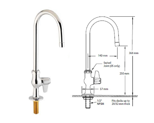 T&S Brass SINGLE FEED WITH 140mm SWIVEL GOOSENECK SPOUT