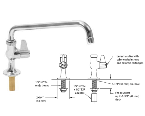 T&S Brass SINGLE FAUCET BODY WITH 305mm SPOUT UK-1DF12