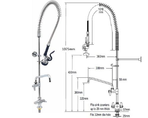 "T&S Brass Mono-standard spray head-12"" faucet UK-2DP12COMP"