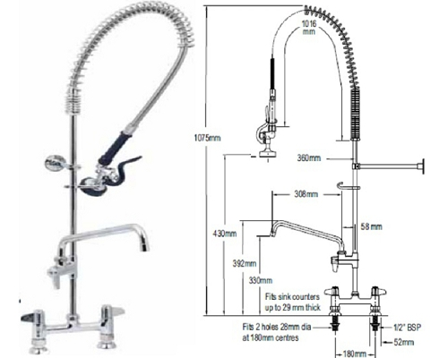 "T&S Brass Twin-standard spray head-6"" faucet UK-7DP06"