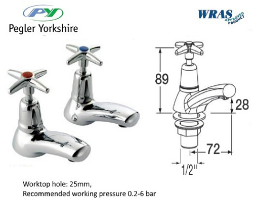 "MECHLINE Pegler Cross Head ? "" Basin taps (pair)"
